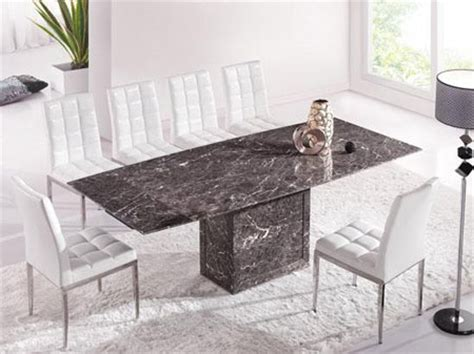 zeus brown grey marble extending dining table and 8 white