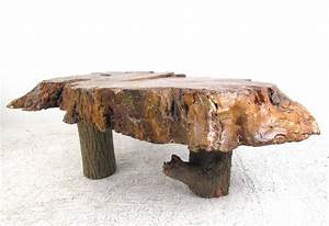 Vintage rustic free edge coffee table natural wood slab for Rustic wood coffee table for sale