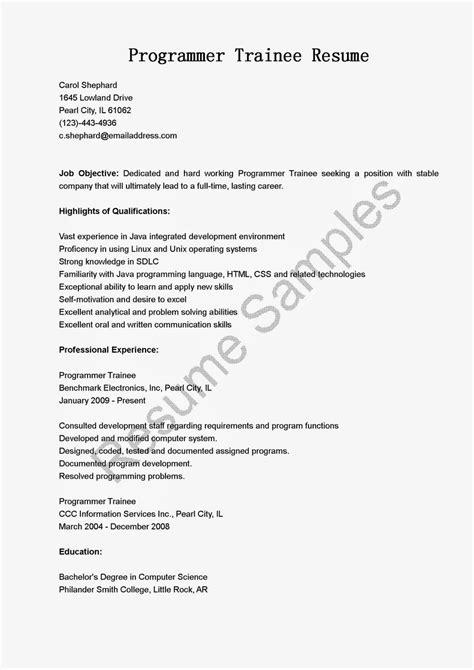 programmer trainee resume sle resume sles resame