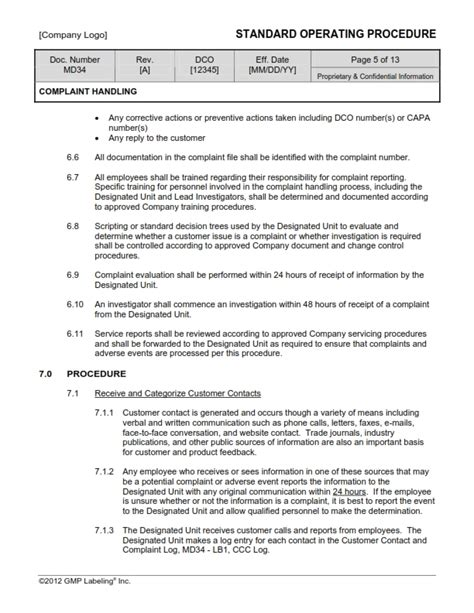 Corrective And Preventive Action Sop Templates Group Md300