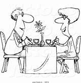 Restaurant Coloring Cartoon Dining Couple Outlined Toonaday Customer Illustrations Leishman Ron sketch template