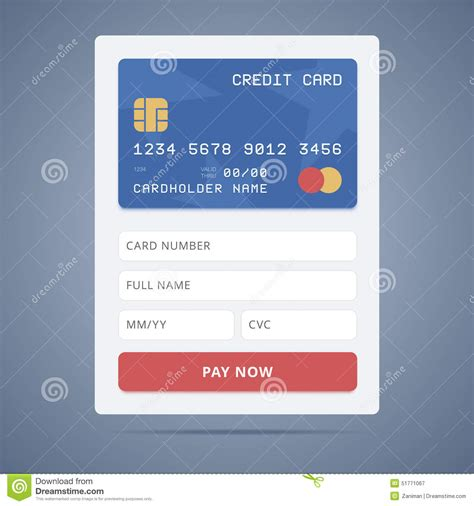 Number Full Form by Payment Application Form With Credit Card Stock Vector