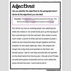 Adjectives Worksheet Kidskonnect