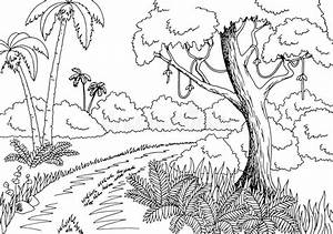 Jungle Road Graphic Black White Landscape Sketch ...