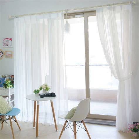 beautiful white solid yarn sheer curtains with pearl