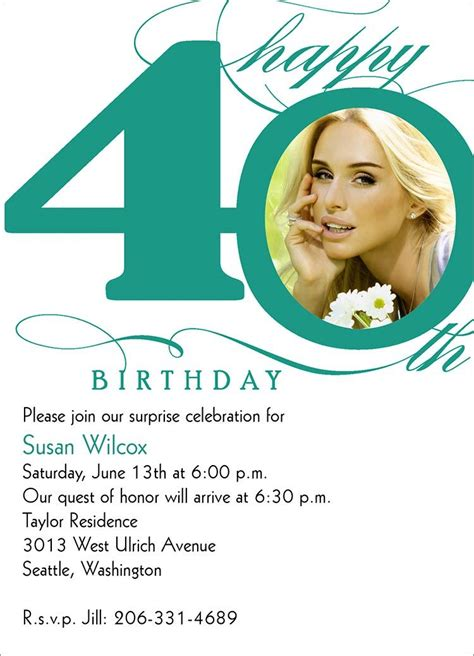 Awesome 40th Birthday Invitation Wording Download this