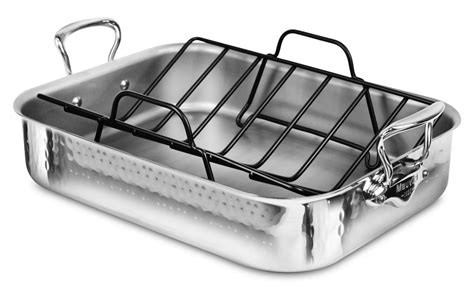 roasting pan with rack mauviel m elite hammered stainless steel roasting pan with