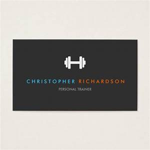 Personal trainer logo with blue and orange text business for Personal training business cards