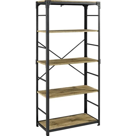 Iron Bookcases by Walker Edison Bs64aibw 64 Quot Angle Iron Finish Bookcase W