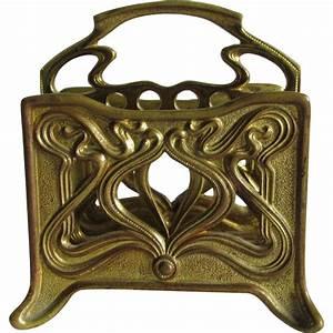 antique gilt brass art nouveau letter holder desk With brass letter holder