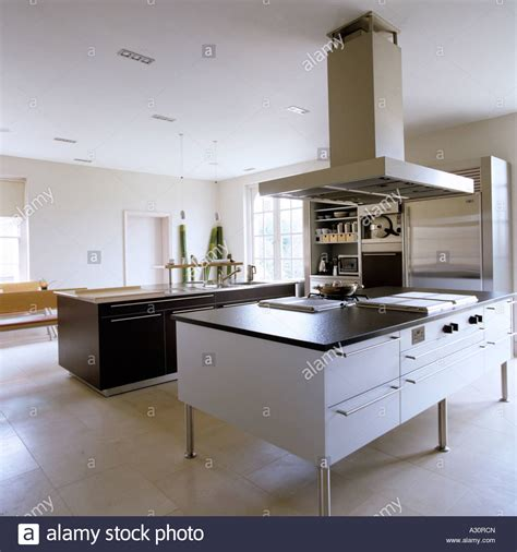 kitchen island extractor fans modern kitchen with island and large extractor fan stock
