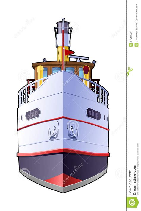 Boat Front View Drawing by Steamship Stock Vector Illustration Of Frontal Isolated