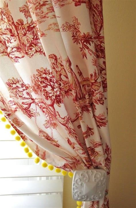 Red Toile Curtains with Yellow Pom Pom Fringe   Colors