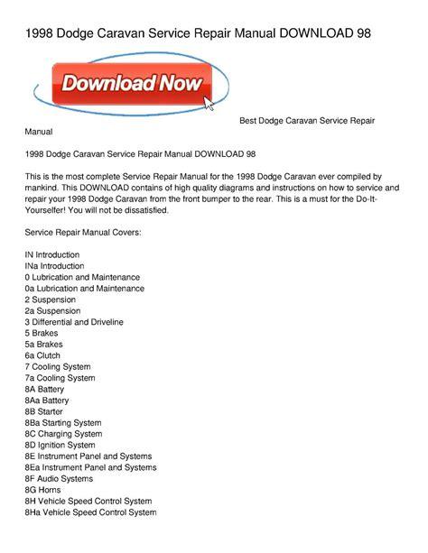 car owners manuals free downloads 1998 dodge caravan security system calam 233 o 1998 dodge caravan service repair manual download 98