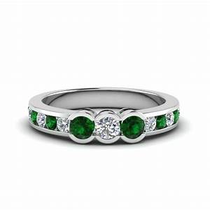 u prong five stone diamond wedding anniversary band in With emerald wedding rings for women