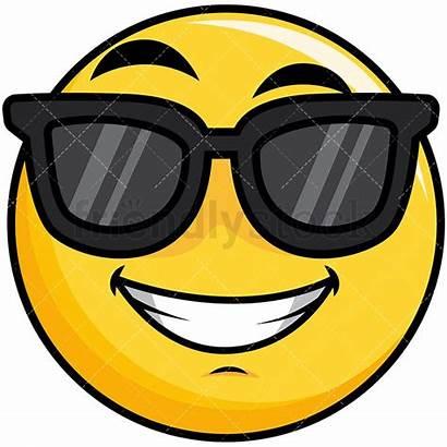 Smiley Sunglasses Cool Emoji Clipart Cartoon Yellow