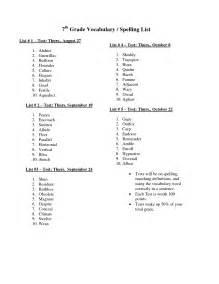 7th Grade Vocabulary Word List