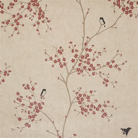 Graham & Brown Beige & Red Oriental Blossom Wallpaper