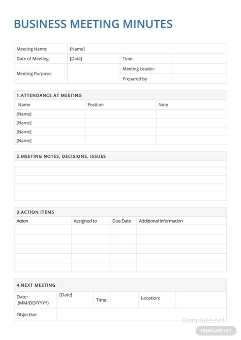 sample business meeting minutes template  microsoft word