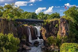 Beautiful, Waterfall, End, Steel, Bridge, In, Forest, Autumn