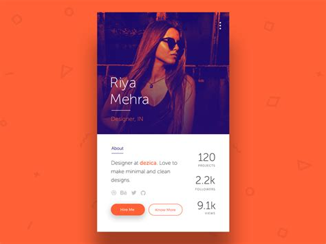 profile card ui  vijay verma  dribbble