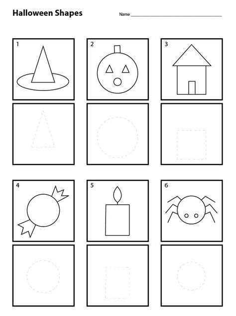 halloween shapes for pre k worksheets teacher and students