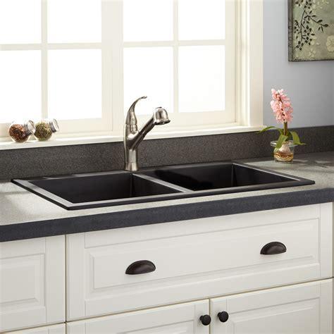 """33"""" Blyth Double Bowl Cast Iron Drop in Kitchen Sink   Kitchen"""