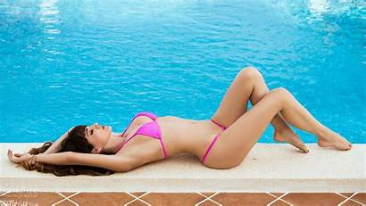 Lying Pool Arched Swimming Bikinis Pink Belly