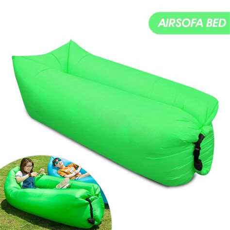 A separate inflatable foot cushion can be used as a stool. Multifunction Outdoor Inflatable Camping Air Sofa Bed, Green   Aset UAE