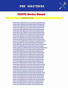 Toyota Workshop Service Repair Manual Pdf Download