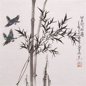 Drawn bamboo chinese painting - Pencil and in color drawn ...