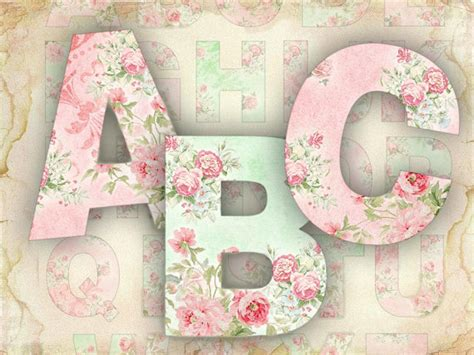 shabby chic letters items similar to roses alphabet shabby chic printable alphabet set jpg or png file 422 buy 3