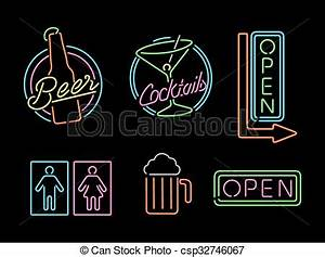 Neon light sign set icon retro bar beer open label Set of
