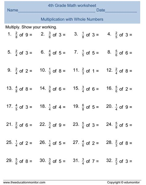 grade fractions math worksheets  printables