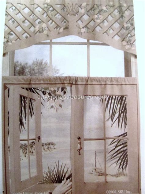 cafe curtains window art mural island retreat scene tiers