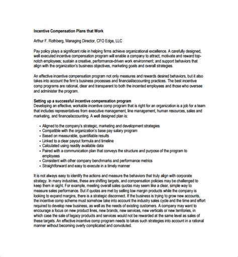 compensation plan template 9 compensation plan templates sle templates