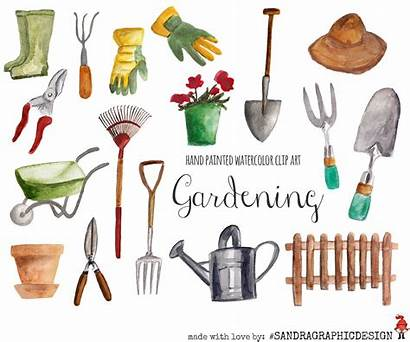 Gardening Clip Clipart Watercolor Painted Garden Floral