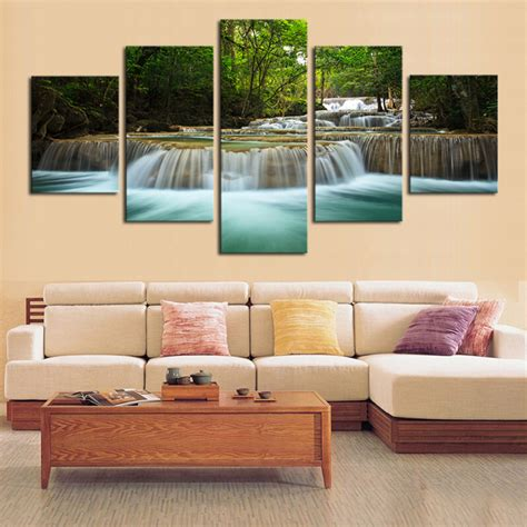 5 Panel Waterfall Painting Canvas Wall Art Picture Home