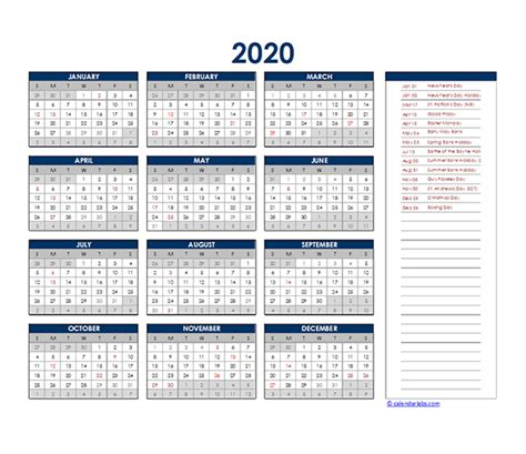 south africa yearly excel calendar  printable