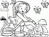 Coloring Garden Watering Flowers Fx sketch template