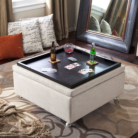 Using An Ottoman As A Coffee Table by Corbett Linen Coffee Table Storage Ottoman Storage
