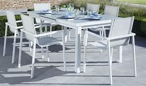 Table De Jardin Blanche : mobilier de jardin blanc table bois exterieur pas cher maisonjoffrois ~ Teatrodelosmanantiales.com Idées de Décoration