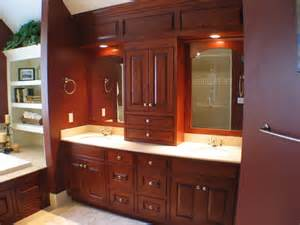 Taylor Made Custom Cabinets by Custom Cherry Bathroom With Paneled Soffit Traditional