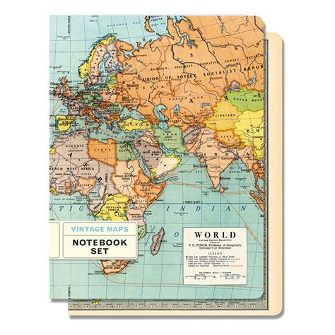 cavallini vintage maps large notebook 5 5 7 25 eco paper at vickerey