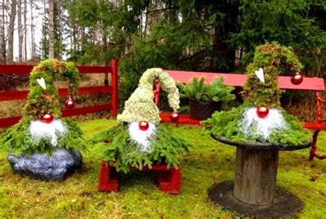 evergreen gnomes easy diy christmas yard decorations