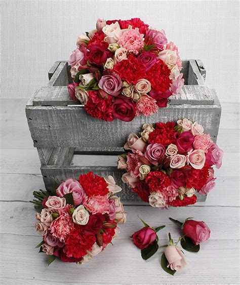 mixed pink flowers wedding bouquet package wedding
