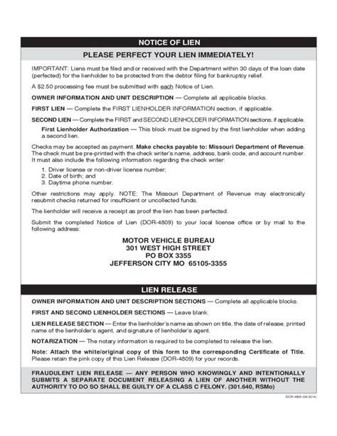 Boat Loans Missouri by Standard Lien Waiver Form Missouri Free