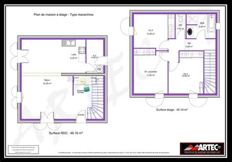 plan maison 4 chambres 騁age plan de maison a etage 100m2