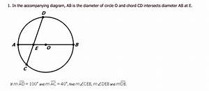 Solved  1  In The Accompanying Diagram  Ab Is The Diameter