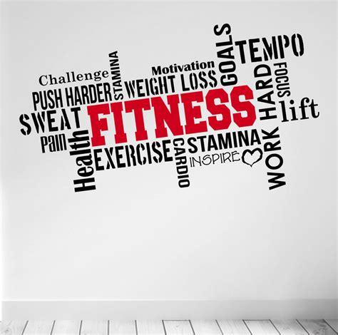 pro fitness motivational wall decal quote sticker workout exercise diet diy ebay